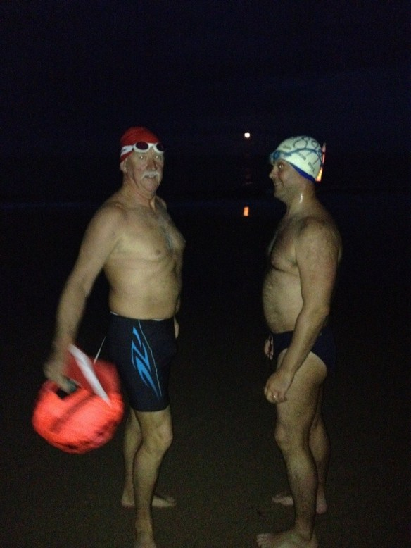 Night swimming on Myrtleville Beach : open water - sea swimming in Cork, Ireland
