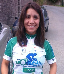 Rebeca Power - in cycling rather than swimming mode!