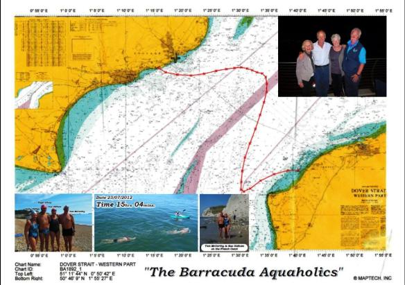 Barracuda Aquaholics Relay team route 23 July, 2012