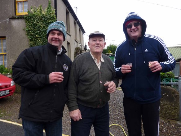 Bernard, Jimmy Long & Damian outside Jimmy's house : open water - sea swimming in Cork, Ireland