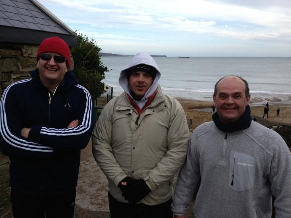 Damian, Finbarr and Bernard post-swim: Myrtleville, December 28, 2012