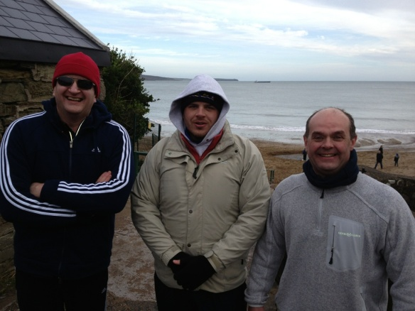 Damian, Finbarr and Bernard post-swim: Myrtleville, December 28, 2012
