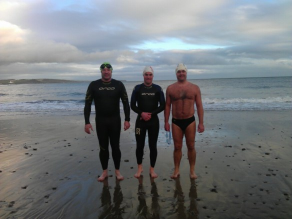 Tim Smyth, James Slowey & Bernard Lynch - last sea swim of 2012: dedicated open water swimming in Ireland