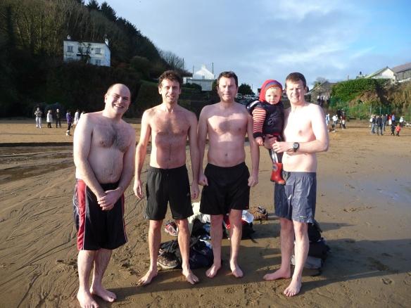 Eamon Griffin, Brian Barry, Paul Barry, Kieran & Padraig O'Flynn: intrepid swimmers all