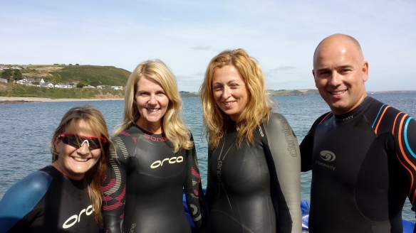 Ger Venner, Fiona Gough  , Michelle Glossop Smyth & Sean Foley getting ready for their swim to Church Bay