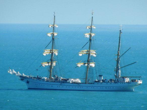 The Gorch Fock at anchor off Myrtleville – pic by Hugh Mockler.