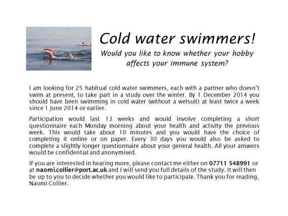 Cold water swimmers advertisement