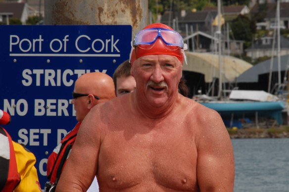 ECHO SPORT - Mick Harris arrives on shore after his 2k Open Water Swin from Fort Camden to the RNLI station in Crosshaven (pic Howard Crowdy)