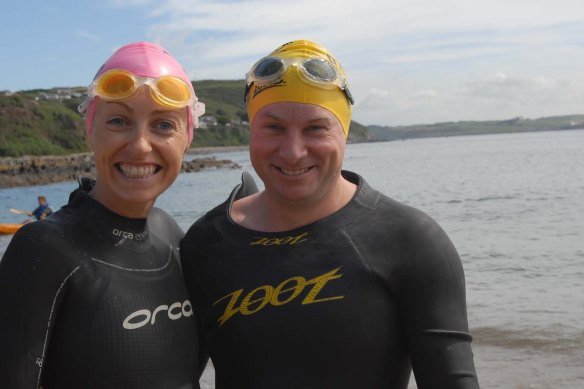 Lizzie Lee from Bishopstown and Ivan Kelleher from Friars Walk pictured at the start of the Myrteville to Church Bay RNLI Sea Swim  (pic Howard Crowdy)