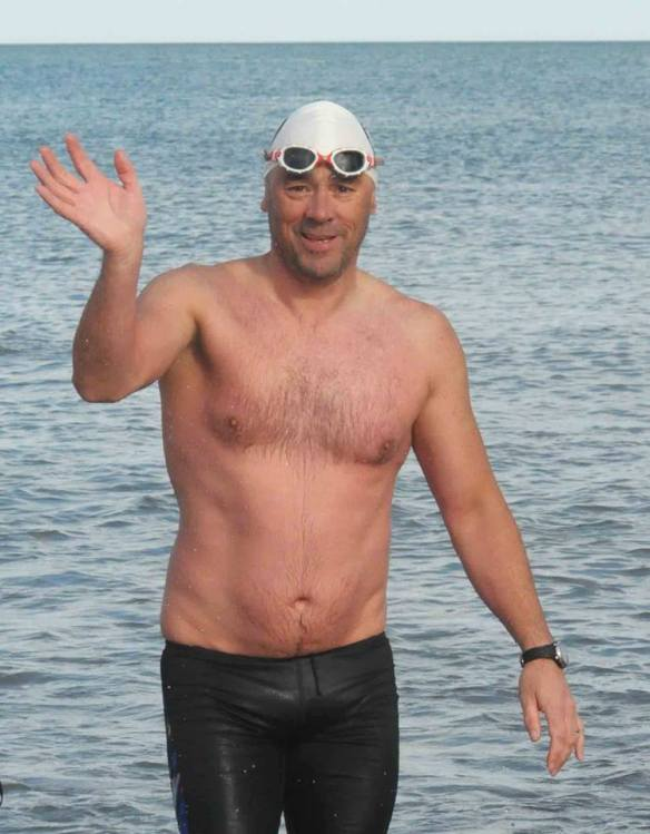Trevor - waving goodbye as he swims to England rather than go by ferry!