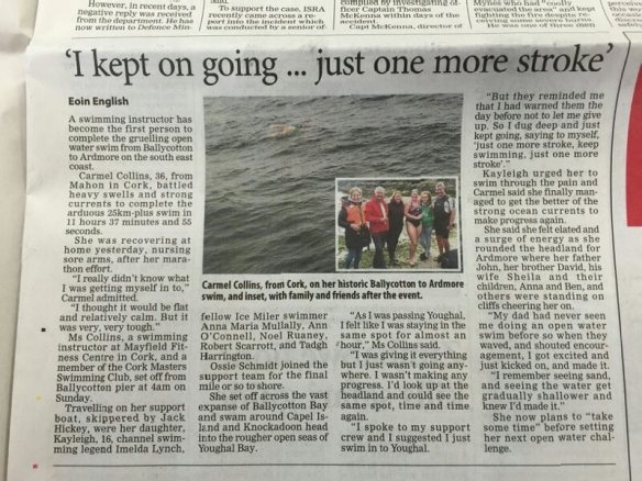Irish Examiner Report on Carmel's Swim.