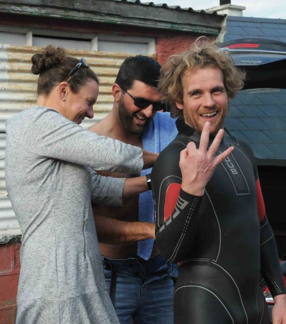 James Slowey being inserted in his Huub.