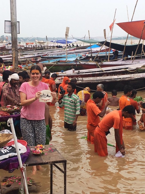 The Hat with Claire Canning in the Ganges.  Look at the local version of Siobhan Russell just behind her!