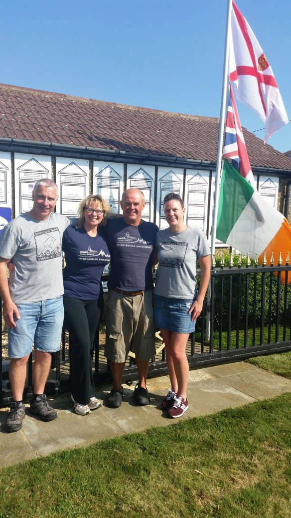 The morning after the day and night before - Rob Bohane, Siobhan Russell, Bernard Lynch and Carol Cashell. Super crew and swimmer. Nice T-Shirts (the blue ones) too.